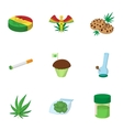 Cannabis icons set cartoon style vector image vector image
