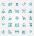 christmas blue icons set - xmas and new year signs vector image