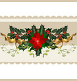 christmas holiday decorations with holly vector image vector image