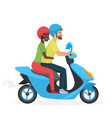 couple in love together on scooter young happy vector image vector image