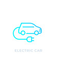 electric car with plug ev linear icon vector image vector image