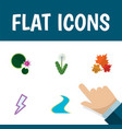flat icon ecology set of tributary floral vector image vector image