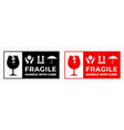 fragile package icons set handle with care vector image vector image