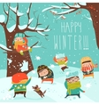 Funny kids playing snowball fight vector image vector image