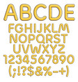 gold alphabet numbers and signs vector image vector image