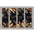 golden tropical leaves vertical banner set vector image