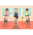 Group of people in gym doing cardio training vector image