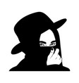 hand drawn woman covering face with hat tattoo vector image
