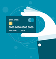 Hand holds credit card with chip vector image vector image