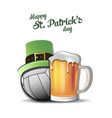 happy st patricks day and volleyball ball vector image vector image