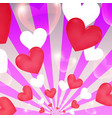 happy valentine day sunburst hearts flying banner vector image vector image