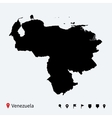 High detailed map of Venezuela with navigation vector image
