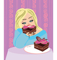 hungry gluttonous woman eating pie vector image