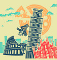 italy attractions background vector image vector image