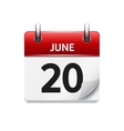 June 20 flat daily calendar icon Date vector image vector image