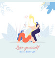 love yourself motivation card happy life style vector image