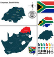 map of limpopo south africa vector image vector image