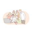 meeting coworking teamwork analysis leadership vector image vector image