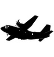 military transport aircraft plane silhouette vector image