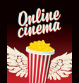 online cinema poster with popcorn bucket and wings vector image