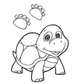 paw print with turtle Coloring Pages vector image vector image