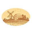 rural landscape sketch farm agriculture food vector image vector image