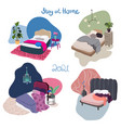 set cosy interior design drawings vector image