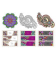set decorative flower template banner in indian vector image