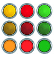 set of round buttons of red orange and green vector image vector image