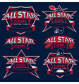 set vintage sports all star crests vector image vector image