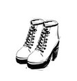 shoes on the platform heels springs boots sketch vector image