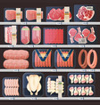 showcase with meat products and price tags vector image
