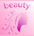 silhouette of a girls head in leaves vector image