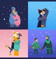sketch lovers hugging kissing at winter vector image vector image