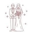 smiling bride and groom drawn with contour lines vector image vector image
