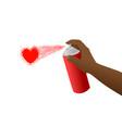 spray black hand heart vector image vector image