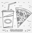 thin line icon pizza hot dog and burger For web vector image