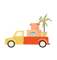 truck carrying cardboard boxes suitcase vector image