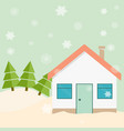 winter house on the edge of the forest vector image
