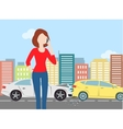 Woman calling after car crash in the city vector image vector image