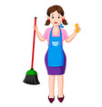 young housewife with broom vector image vector image