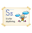 A letter S for skydiving vector image