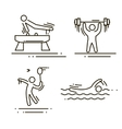 sports thin line icons set pictograms vector image