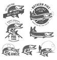 Vintage pike fishing emblems and logos vector image