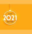 2021 happy new year bright yellow minimal vector image