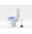 3d realistic clogged toilet bowl plunger vector image