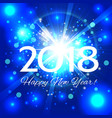 blue fireworks with greetings happy new year 2018 vector image