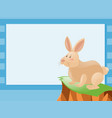 Border template with rabbit on cliff vector image
