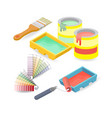 brush roller palette isometric construction vector image
