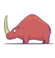 Cartoon Prehistoric Rhino isolated on white vector image vector image